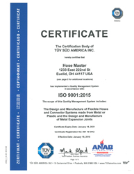 Hose Master ISO 9001-2015 Certificate Cleveland, Houston, Atlanta, and Reno