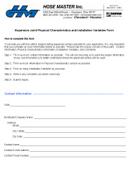 Expansion Joint Requisition Form (Metric)