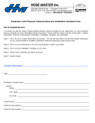 Expansion Joint Requisition Form (US)